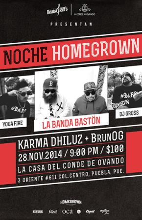 Noche HomeGrown Puebla Beats and Riffs la banda bastón